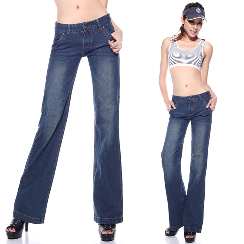 women's wide leg pants trousers bell bottom jeans plus size big boot cut casual denim - Working For Customer store