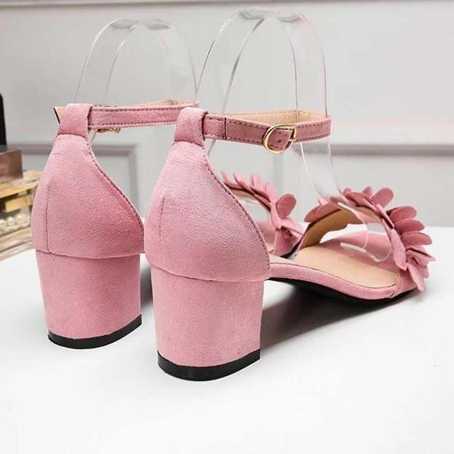 Womens Ladies Block High Heel Sandals Flowers Adorn Buckle High Heels Shoes zapatillas mujer casual plataforma#0203g10 Uncategorized Fashion & Designs Ladies Shoes Women's Fashion