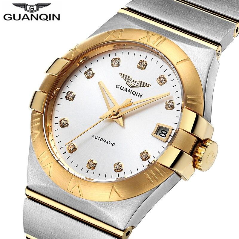 GUANQIN luxe affaires hommes montre Top marque automatique montre hommes calendrier lumineux mains étanche plein acier mécanique montres