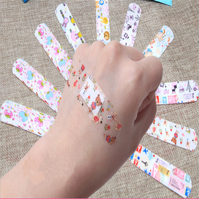 100pcs Waterproof Breathable Cute Cartoon Band Aid Hemostasis Adhesive Bandages First Aid Emergency Kit For Kids Child Vendaje