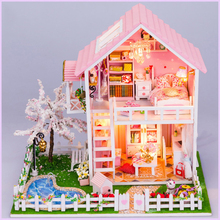 DIY DollHouse Miniature With Furnitures Wooden Doll House Villa Model Toys Children Gift Under The Cherry Tree 13835 #E