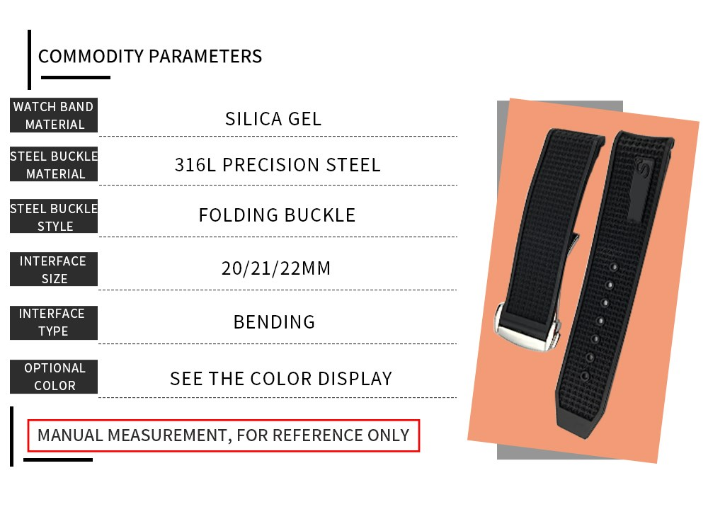 20mm 21mm 22mm borracha silicone pulseira de