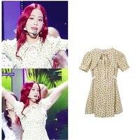 kpop BLACKPINK Jisoo the same kawaii Women Dress Bow Collar Floral Print Casual Elegant Vintage Sweet Dress Korean Chic clothes
