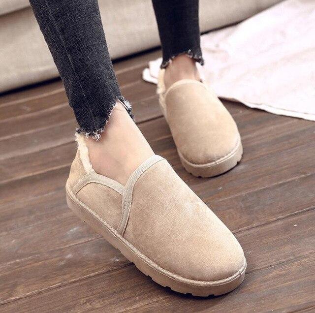 Kış Kar Botları kadın ayakkabısı Artı Kadife Kalınlaşmak Çok Yönlü Sıcak Tutmak Bezelye Ayakkabı Rahat Düz Ekmek Ayakkabı Pamuk Çizmeler