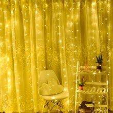 Светодиодный Сосулька Светодиодный Гирлянда-занавес Фея струнная лампа Фея струнная светодиодная Рождественская лампа Дистанционное освещение для свадьбы/дома/вечерние Декор