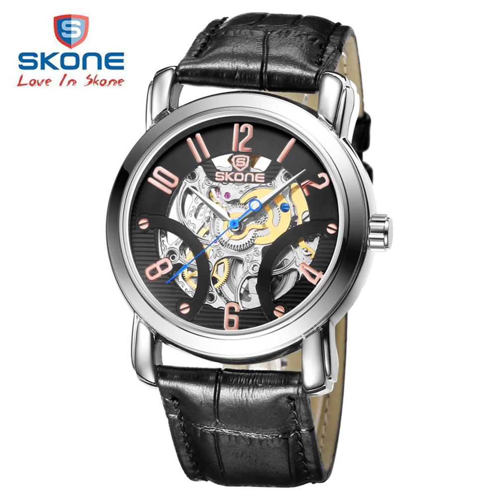 SKONE Famous Skeleton Automatic Watches Men Top Brand Luxury Leather Mens Watch Dress Watch Relogio Masculino Reloj Hombre XFCS abs puzzle toy magic cube 3 x 3 x 1