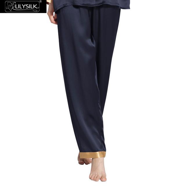 Pantalones 22 Momme Lilysilk 100% Pijama De Seda de Las Mujeres ropa de Dormir Pantalones Azul Marino Largo Invierno de Oro Cuff Mujer Salón Bottoms Inicio