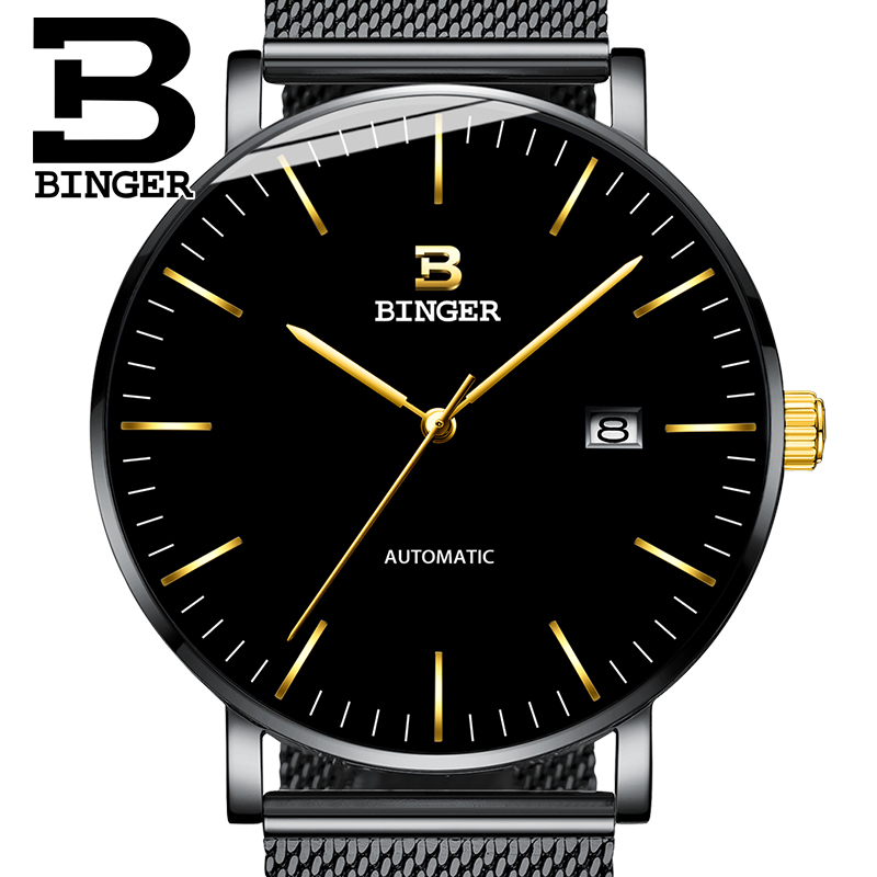 Switzerland BINGER Mens Watches Luxury Brand automatic mechanical Men Watch Sapphire Male Japan Movement reloj hombre B-5081M-9 sollen mens automatic mechanical watch diamond gold full steel sapphire waterproof luminous male luxury top brand watches reloj