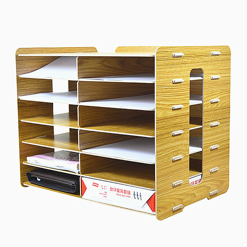 6 Layers File Tray Wood Office Special File Storage Shelf Document Trays Classification Cabinet Desktop File Papers Storage Box цена 2017