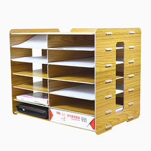 6 Layers File Tray Wood Office Special File Storage Shelf Document Trays Classification Cabinet Desktop File Papers Storage Box(China)