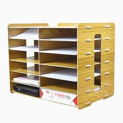 6 lagen Bestand Lade Hout Kantoor Speciale Bestand Opslag Plank Document Trays Indeling Kast Desktop Bestand Papers Opbergdoos
