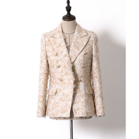 EXCELLENT Newest 2019 Baroque Designer Career Blazer for Women Ladies Lion Buttons Double Breasted Mohair Tweed Blazer Coat