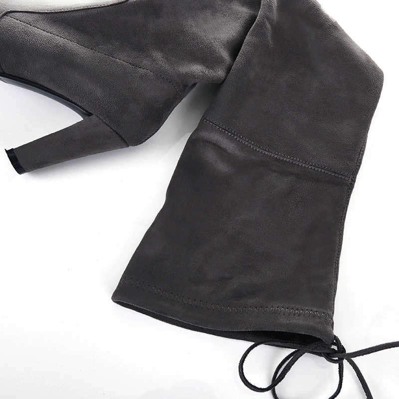 Uyluk yüksek çizmeler kadın süet diz üzerinde çizmeler yüksek topuk seksi parti düğün Overknee çizmeler güz kış ayakkabı siyah gri