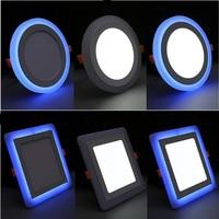 Doppel Farbe LED Panel Licht 6 W 9 W 16 W 24 W Runde Platz Panel LED Decke Lampe AC110V 220 V Innen Einbau downlight-in LED-Flächenleuchten aus Licht & Beleuchtung bei