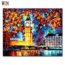 London Clock Painting By Numbers Wall Art DIY Handpainted Great Tower Coloring CityNight Arts For Living Room