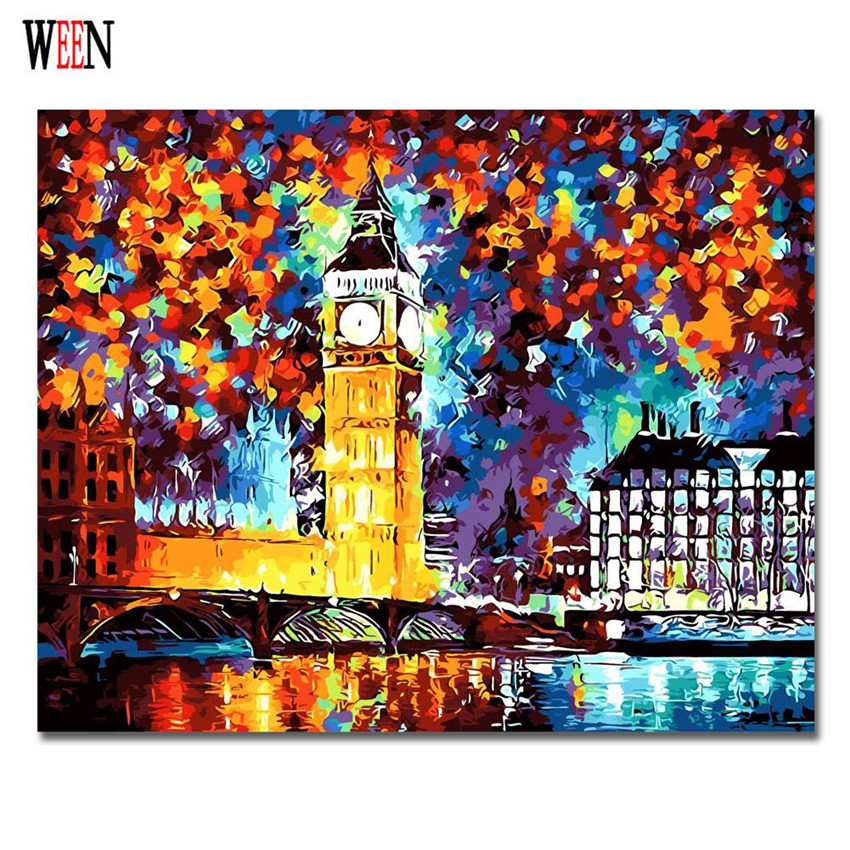 WEEN London Clock Pictures Painting By Numbers DIY Handpainted Wall Great Clock Tower Coloring By Numbers City Night 2017 Arts
