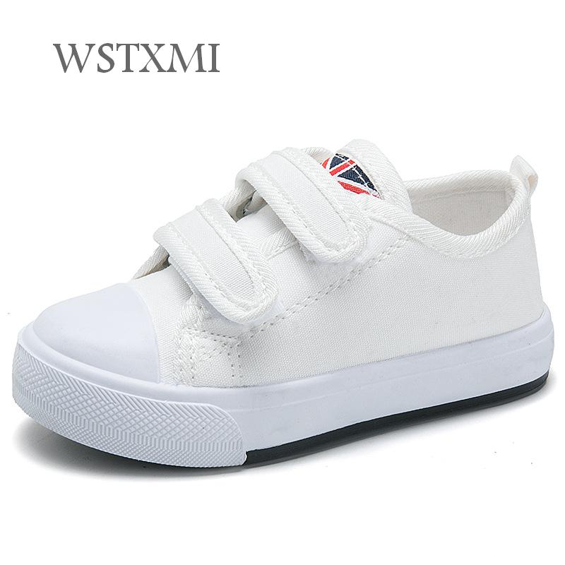 Children Canvas Shoes for Girls White Sneakers Baby Boys Flat Sport Shoes Breathable Fashion Kids Casual Student Running Shoes