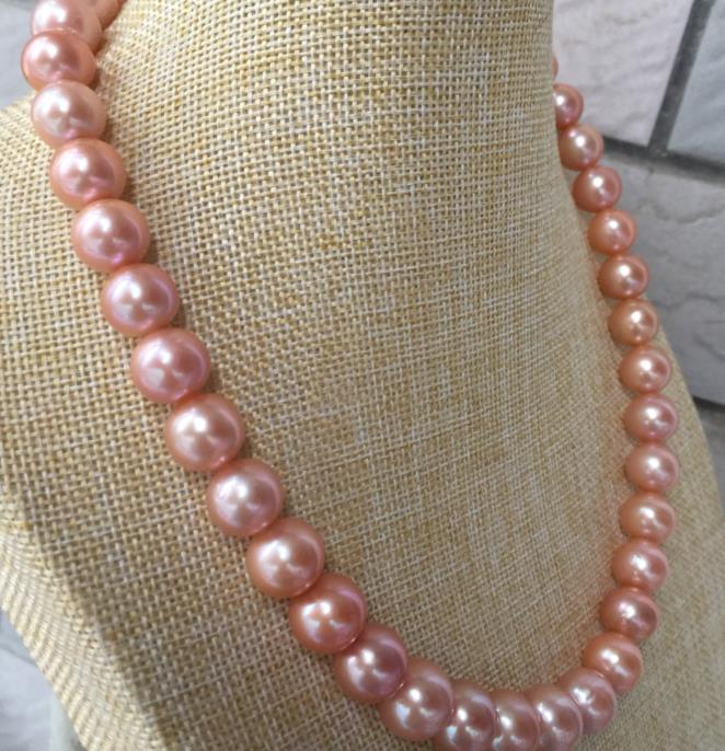 gorgeous 11-12mm freshwater round gold pink pearl necklace 18inch 925silvergorgeous 11-12mm freshwater round gold pink pearl necklace 18inch 925silver
