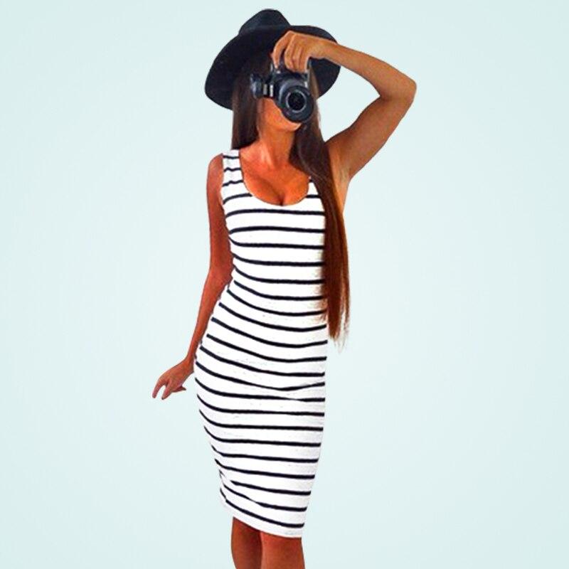 4127ed7b34f5 Summer Casual Women Striped Dress Sleeveless Round Neck Slim Fit Bodycon  Dress T Shirt Dresses LJ9218R