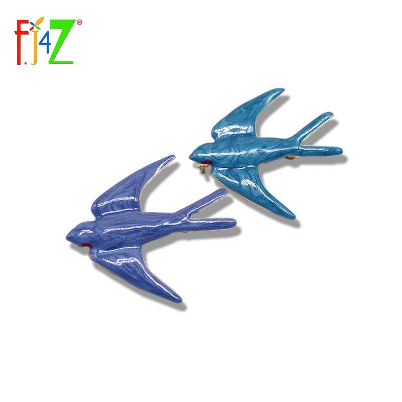 F.J4Z New Hot Women Brooches Accessories Elegant Designer Nice Enamel 2 Colors Lovely Swallow Brooches Pin For Collar Deco
