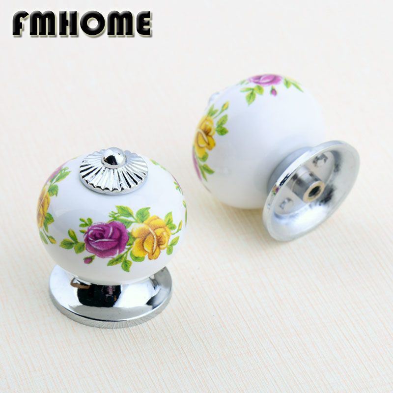 Rustico fashion rural ceramic drawer tv table knobs pulls silver chrome kitchen cabinet cupboard door handles  rose knobs