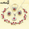 XUTAAYI Now Hot Selling 925 Silver Flower Imitation Ruby Women Four Piece Jewelry Sets Earring Necklace Bracelet Pendant Ring