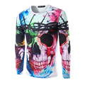 Новое Прибытие Мужчины 3D Печати Череп Мода Футболка С Длинным Рукавом Мужской Красочный Дизайн Тис Рубашка Высокое Качество т рубашки мужчин