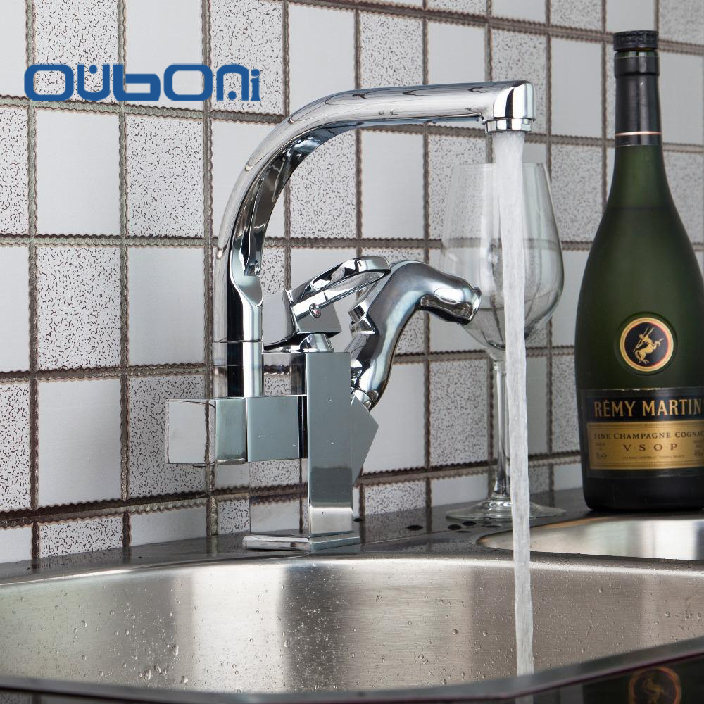 OUBONI New Kitchen 2 Water Way&Pull out Spray Dual Spout Basin Sink Vessel Vanity Torneira Cozinha Swivel Brass Mixer Tap Faucet golden brass kitchen faucet dual handles vessel sink mixer tap swivel spout w pure water tap