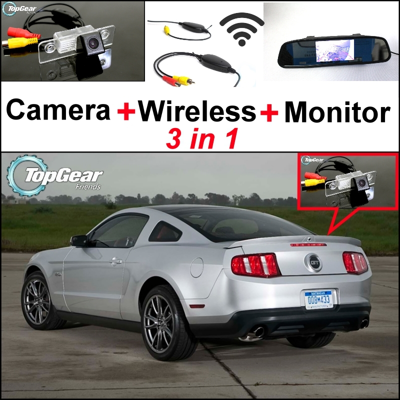 3 in1 Special Rear View Camera + Wireless Receiver + Mirror Monitor DIY Parking System For Ford Mustang GT CS 2005~2014 liislee 3 in1 special rear view camera wireless receiver mirror monitor diy parking system for ford c max s max 2010 2014