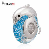 925 Sterling Silver Glass Beads With Silver Dolphin Charm 4 6mm Hole Fits European Troll Ring