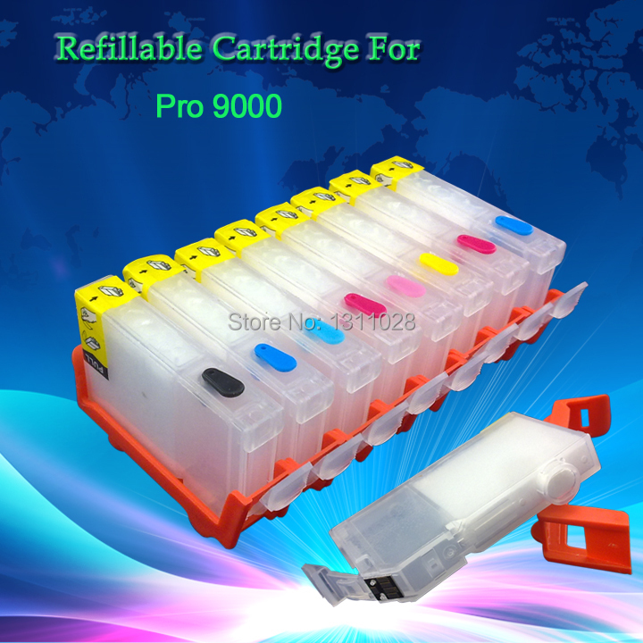 INK WAY CLI 8BK C M Y PC PM G R chipped refillable cartridges for CANON PRO9000,8PCS 1 SET,FREE SHIPPING
