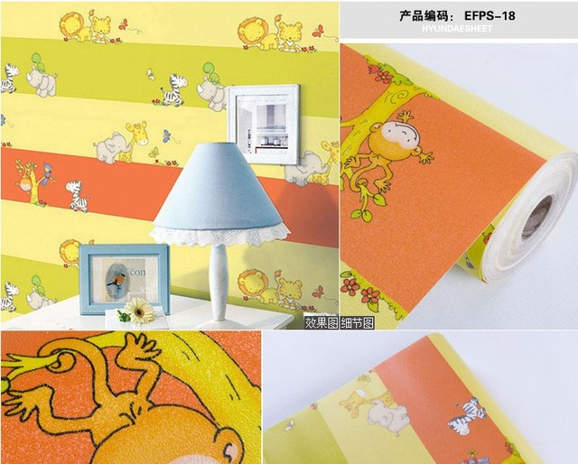 high quality baby Pvc wallpaper sticky notes color equipment membrane child real cartoon animal self-