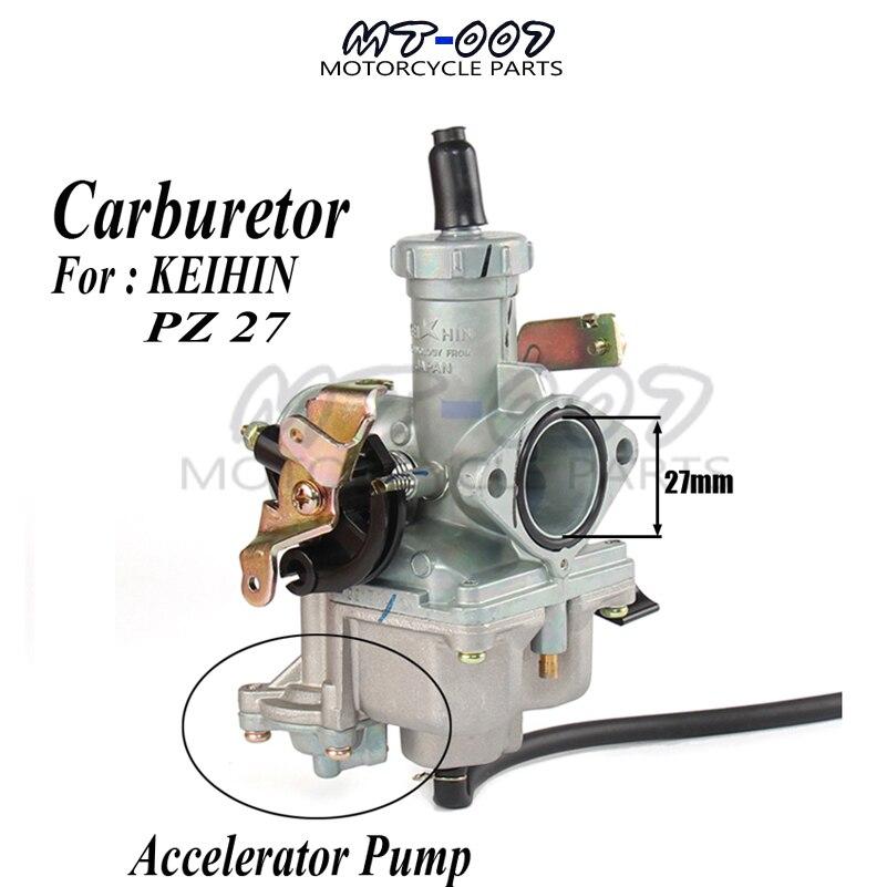 PZ27 27mm Carburetor Hand Choke Accelerating Acceleration Pump For KEIHIN 140 160 200cc Dirt ATV keihin cable choke 30mm pz30 carburetor power jet accelerating pump for 200cc 250cc motorcycle dirt bike pit bike atv