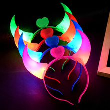 Halloween Costumes Devil Horns LED Flash Light Colorful Baby Hair Hoops Headwear Head Band Decoration Clearance