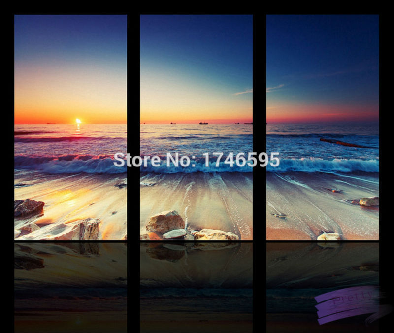 Big Size 3pcs Modern Living Room Home Wall Decor Sunset Beach Wall Art  Picture Printed Seascape