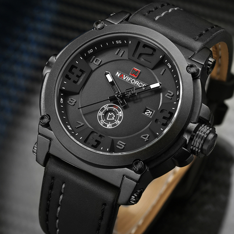 2017 NEW Luxury Brand NAVIFORCE Men Sport Watches Men's Quartz Clock Man Army Military Leather WristWatch Male Relogio Masculino xinge top brand luxury leather strap military watches male sport clock business 2017 quartz men fashion wrist watches xg1080