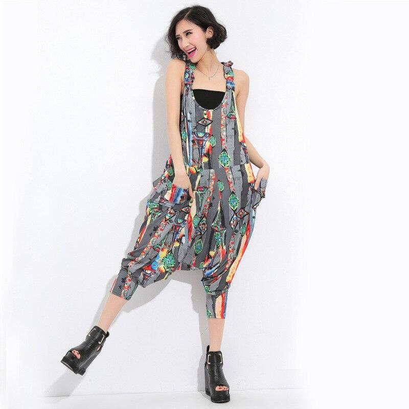 pantalon femme hippie overalls bohemian floral print crotch hip hop punk harajuku baggy capri. Black Bedroom Furniture Sets. Home Design Ideas