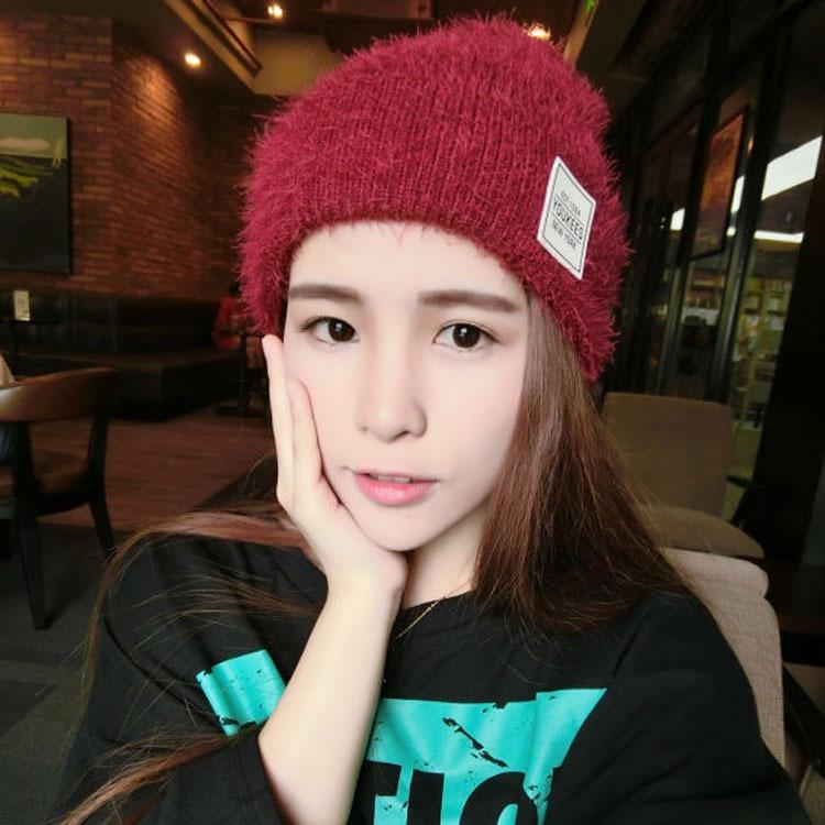 Kesebi 2016 Autumn Winter Female Casual Simple Skullies Beanies Women Warm Korean Style Knitted Solid Color Patch Hats skullies