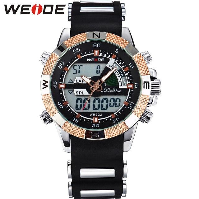 WEIDE Men Quartz Watches Luxury Brand Sports Army Analog Digital Wristwatch Silicone Strap 3ATM Waterproof Alarm Military Watch