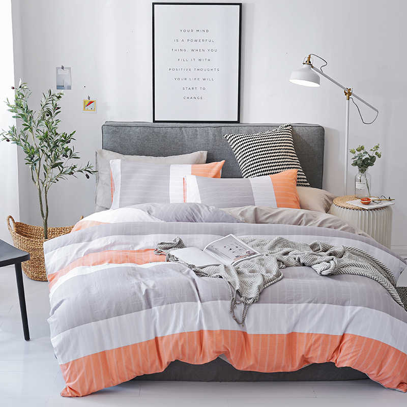 gray white orange wide stripes bedding sets 3 4pcs duvet cover comfortable quilt cover pillow cases best selling bedclothes