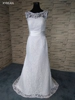 Cheap Price 2017 New Free Shipping Cap Sleeve Lace Sashes Beach White Ivory Wedding Dresses