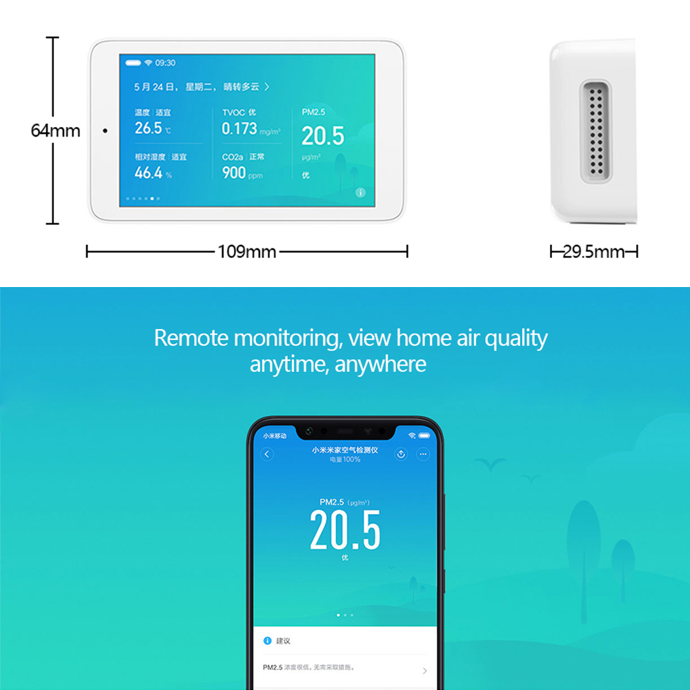 Image 2 - Original Xiaomi Mijia Air Detector High precision Sensing USB Interface 3.97 inch touchscreen humidity sensor PM2.5 tester CO2a-in Smart Remote Control from Consumer Electronics