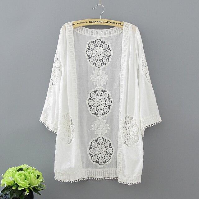 Kimono Cardigan Women Crochet Lace Cardigan Embroidery Hippie Boho