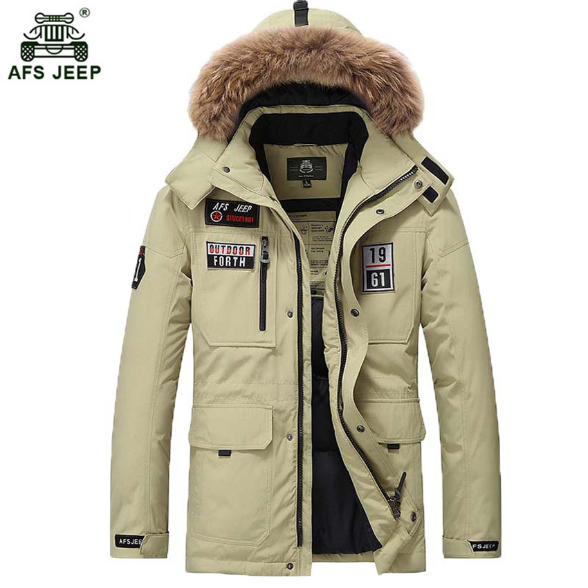 New Long Winter White Duck   Down     Coat   With Fur Hood Men's Clothing Casual Jackets Thickening Parkas Male Big   Coat   265wy