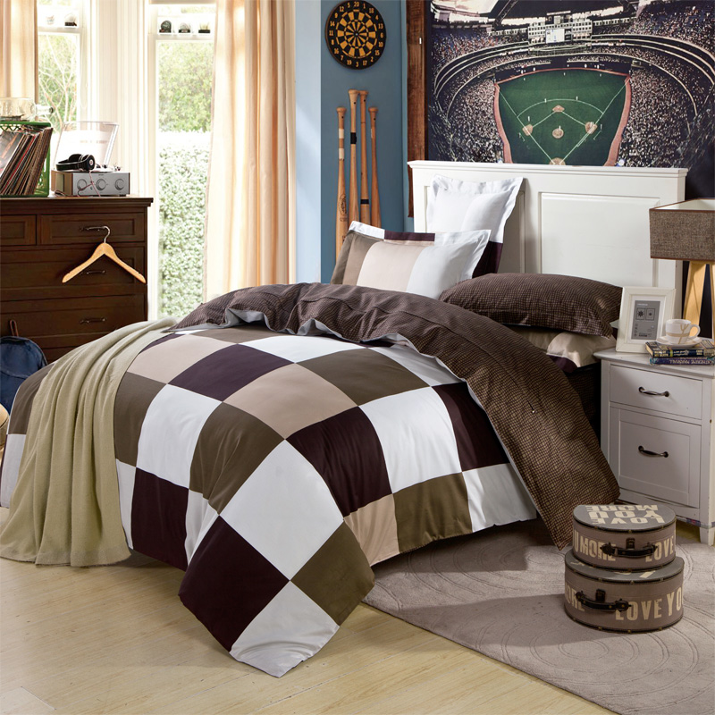 Modern Design Simple Geometric Plaid Mens Bedding Set Queen Size King Size  Quilt Cover Coverlet 100. Online Get Cheap Mens Bedding  Aliexpress com   Alibaba Group