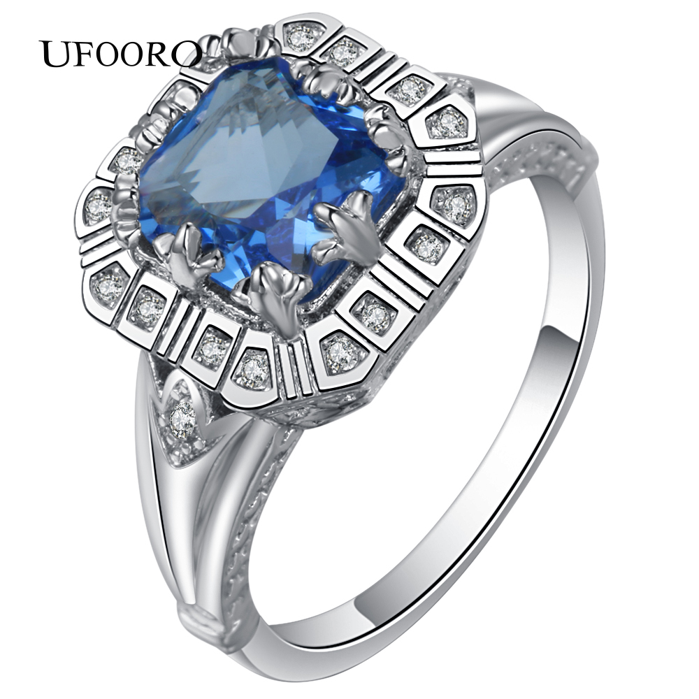 2017 NEW Blue CZ Stone Silver Plated Ring for women fashion accessories lady party gift design Engagement Jewelry Brilliant