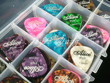 Lots of 180pcs Alice Colourful Pearl Celluloid Acoustic Electric Guitar Picks Plectrums With Original Plastic Picks Case