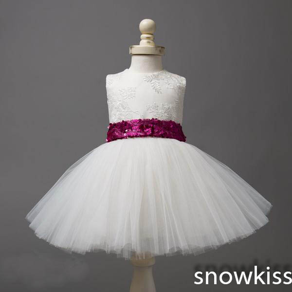 2016 Cute White/ivory lace appliques ball gowns with Sequins bow sash pretty little kids 1 year birthday wedding party dresses