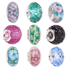 Couqcy Various Colors Chamilia Beads Cut Surface Solid Glass Fit Original Pandora Bead Bracelet For Women Charm DIY Jewelry