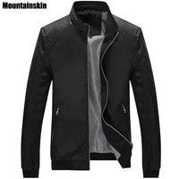 Mountainskin 5XL Spring New Men S PU Patchwork Jackets Casual Men S Thin Jackets Solid